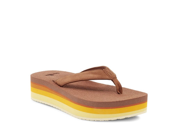 SANUK Golden Rainbow Yoga Mat Stacker FLATform Flip Flop Sandals