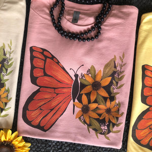 """Ole Retro Monarch"" Vintage Floral Butterfly Graphic Tee ~ (made 2 order)"