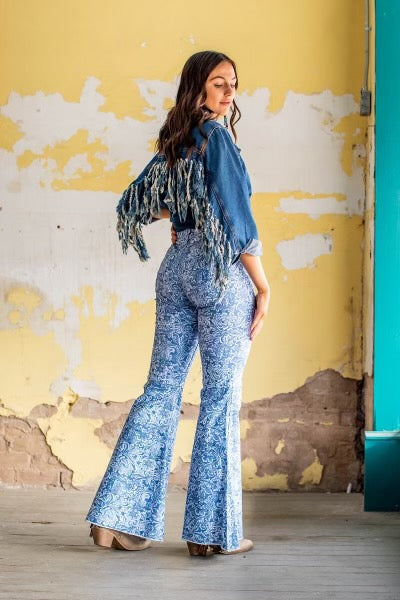 """Ole Denim Dayna"" Tooled Leather Print Bell Bottom Flares"