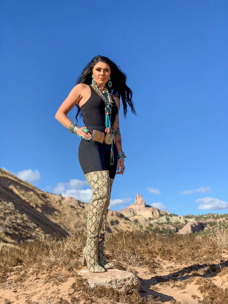 """Ole Highway Queen"" Snakeskin Over The Knee Thigh High Boots"