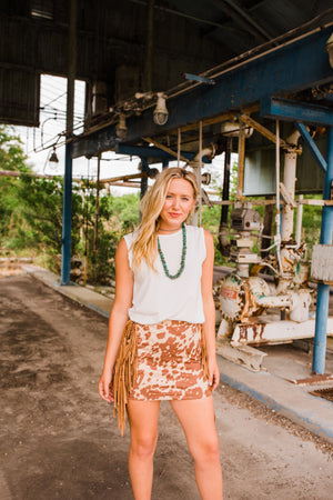"""Ole Cattle Call Mini"" Cow Puncher Print Suede Mini Skirt w/ Side Fringe"