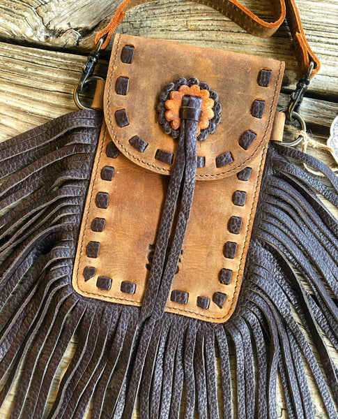 sTs Ranchwear Leather Fringe Crossbody Stadium Purse