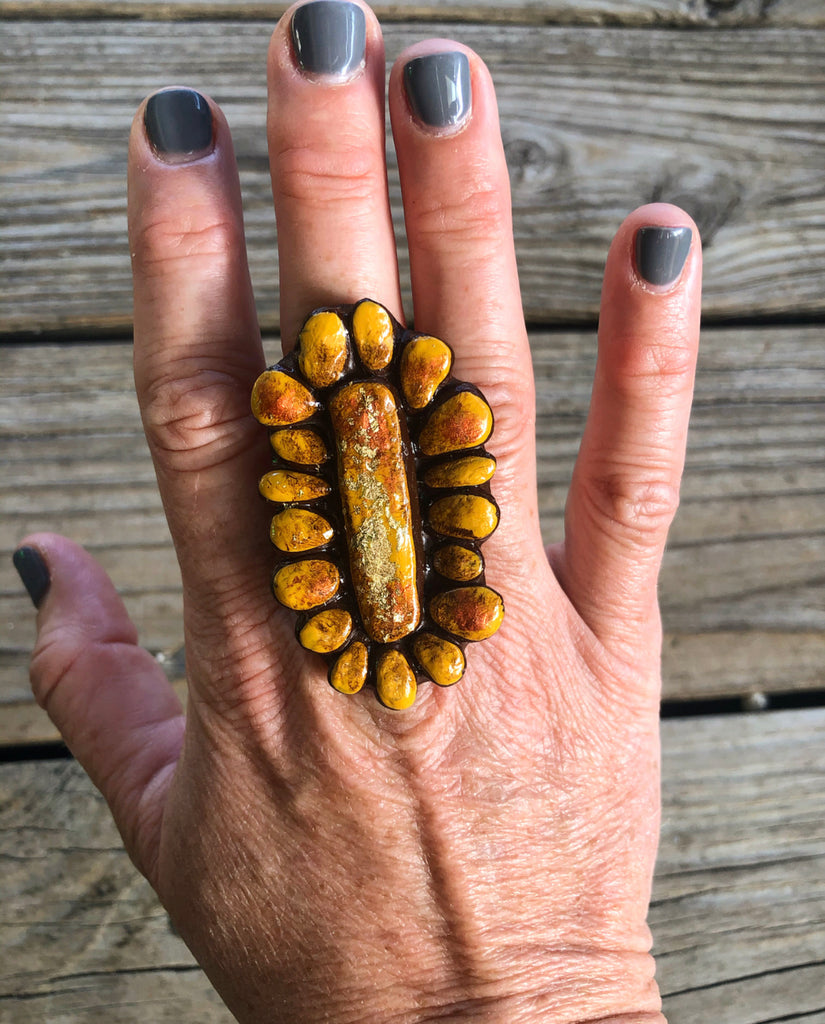 Sookie Sookie Crow Springs Cluster Ring ~ Golden Mustard