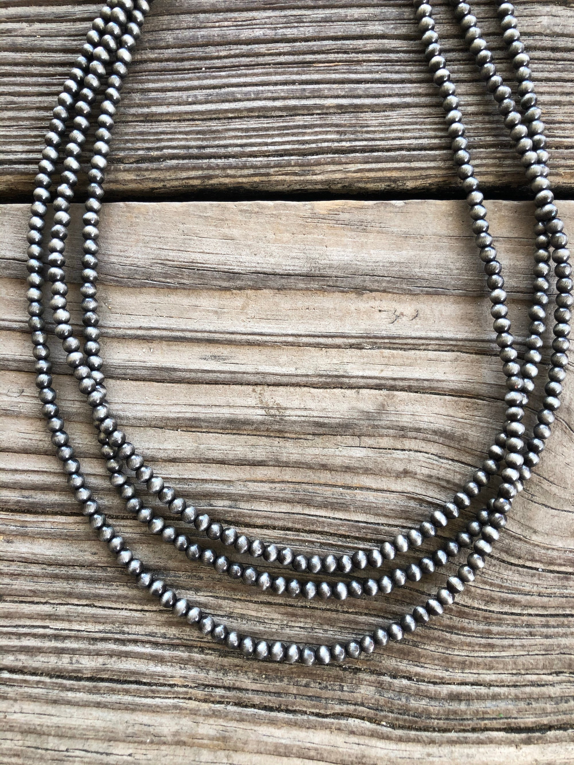 "Navajo Pearl Triple Strand 18"" Necklace ~ 4mm"