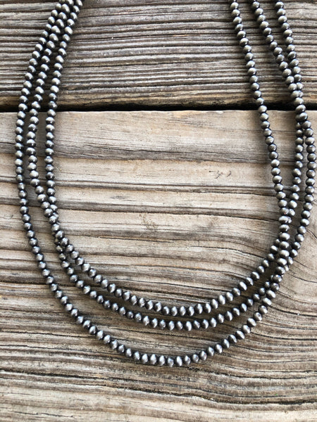 Navajo Pearl Triple Strand Bib Style 18 inch Necklace ~ 4mm