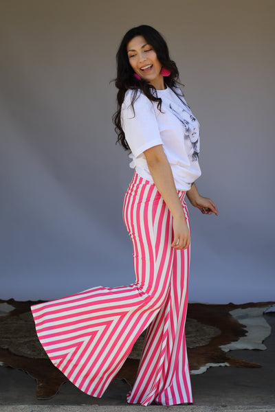 """Ole Candy Striper"" Hot Pink & White Stripe Bell Bottom Pants"