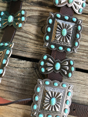 """Ole Toledo"" Jumbo Silver & Turquoise Stone Concho Pebbled Brown Leather Belt"