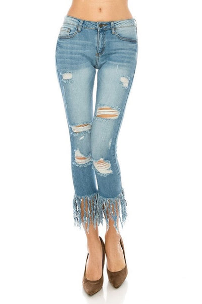 """All Tattered Up"" Distressed Frayed Hem Scarecrow Jeans"