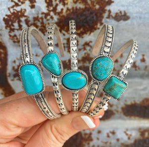 """Ole Benchmark"" Turquoise Stone Etched Silver Stacking Cuff Bracelets"