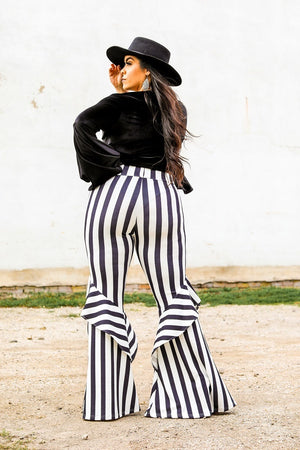 """Lil Miss Round Up"" Black & White Stripe Ruffle Bell Bottoms"