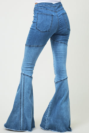"""Ole Britches Get Stitches"" Medium Wash Ombre` Denim Bell Bottom Jeans"