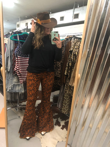 """Ole Rock 'n Roll Fantasy"" Rusty Orange Leopard Bell Bottom Jeans"