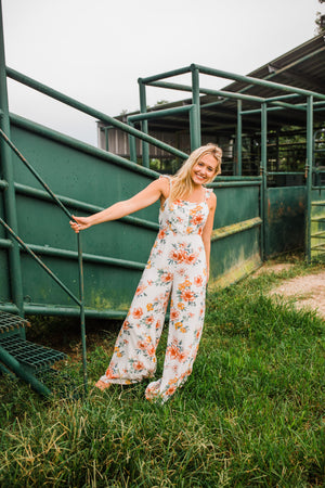 """Ole Flowers for Mama"" Vintage Floral Print Wide Leg Jumpsuit"