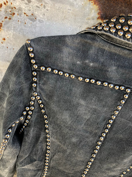 """Ole Stud Finder"" Acid Washed CHARCOAL Denim Silver Studded Blazer"