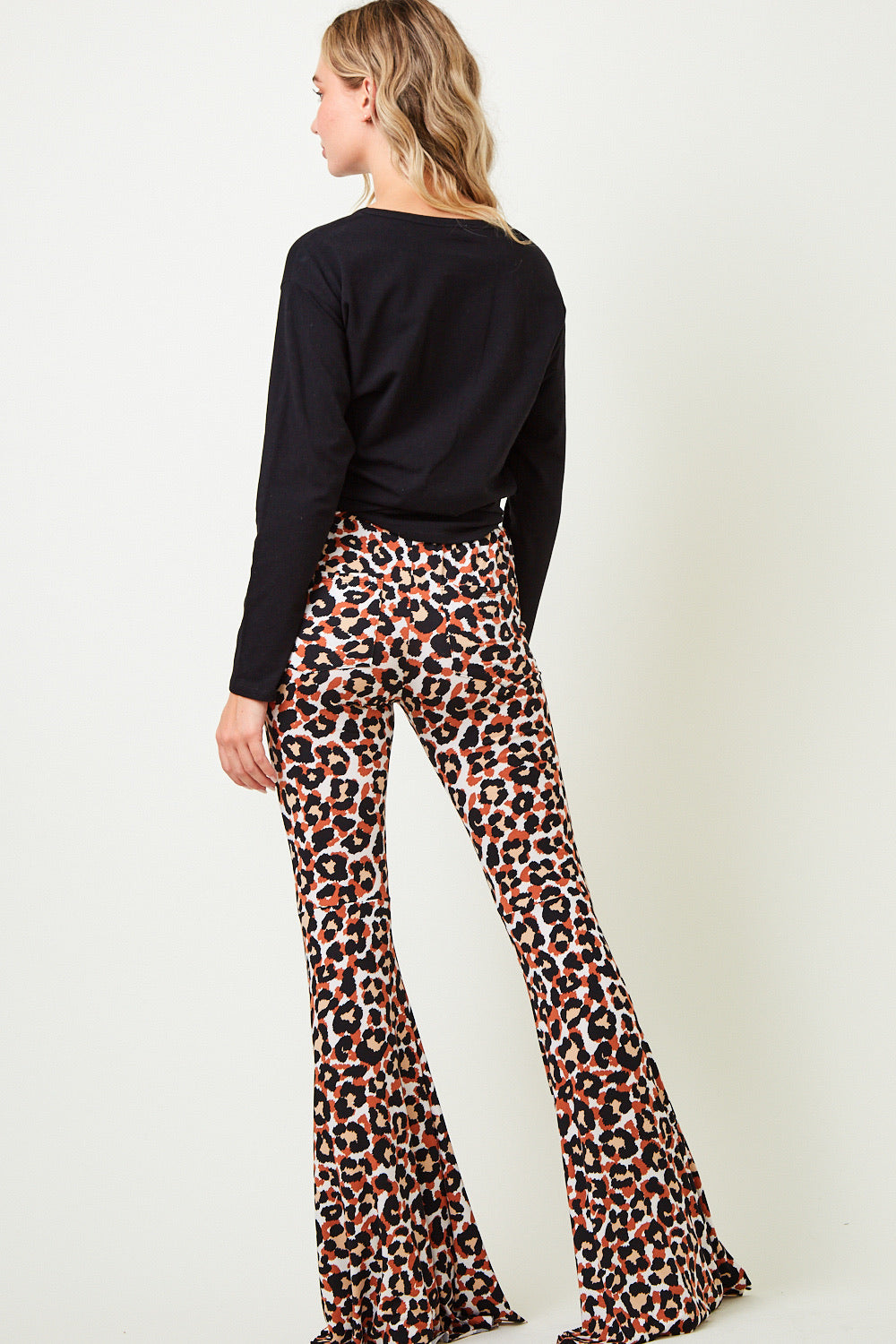"""Ole Cat Benatar"" Rusty Leopard Print Bell Bottom Pants"