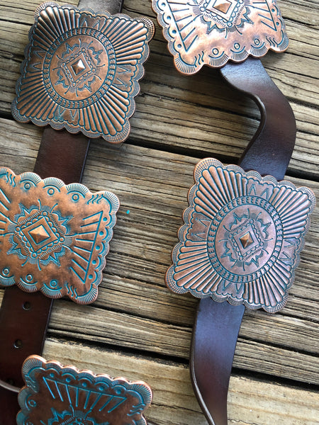 """Miss Clementine"" Antique Style Engraved Patina Concho Brown Leather Belt"