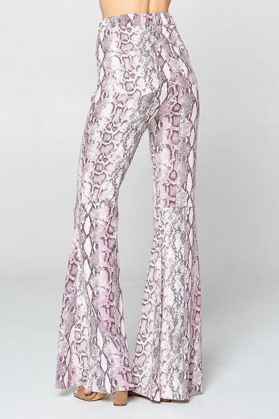 """Ole Pink Cadillac "" Baby Pink & Gray Python Snakeskin Print Bell Bottoms"