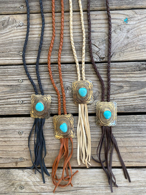 """Ole Square Buckhorn"" Scalloped Silver & Turquoise Stone Square Concho Braided Buckskin Leather Fringe Necklace"