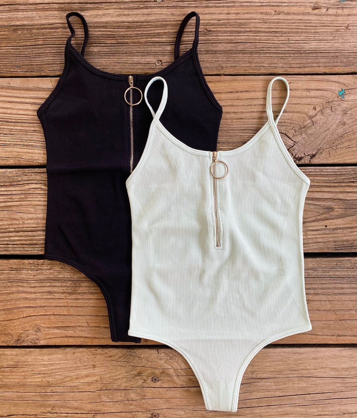 """Ole Ring It Up"" Zip Up Front Ribbed Body Shaping Bodysuit"