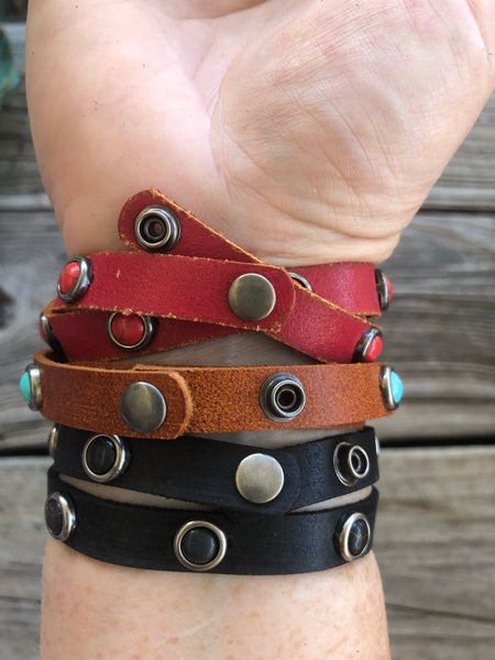 Leather & Turquoise Stone Wrap Style Cuff Bracelet &/or Choker Necklace