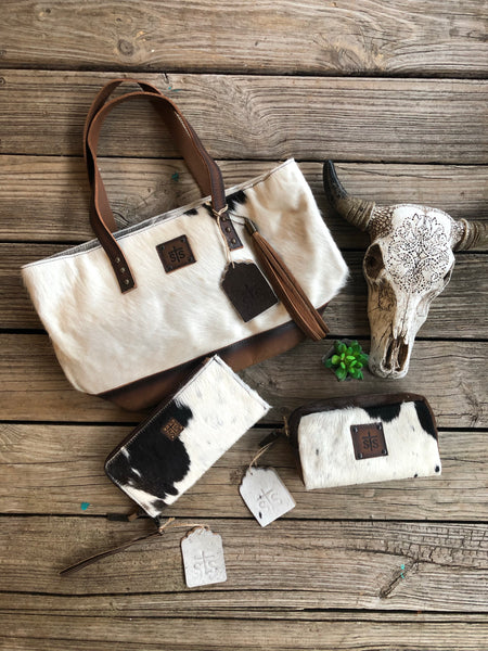 sTs Ranchwear 3 Piece Leather & Cowhide Purse, Clutch/Wallet & Make Up Bag Set #1
