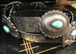 """Lil Miss Stockyards"" Turquoise & Silver Concho Metallic Snakeskin Leather Belt"