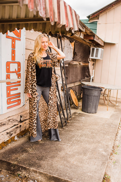 """Ole Spellbound""  BROWN LEOPARD Print Side Slit Long Duster Cardigan"