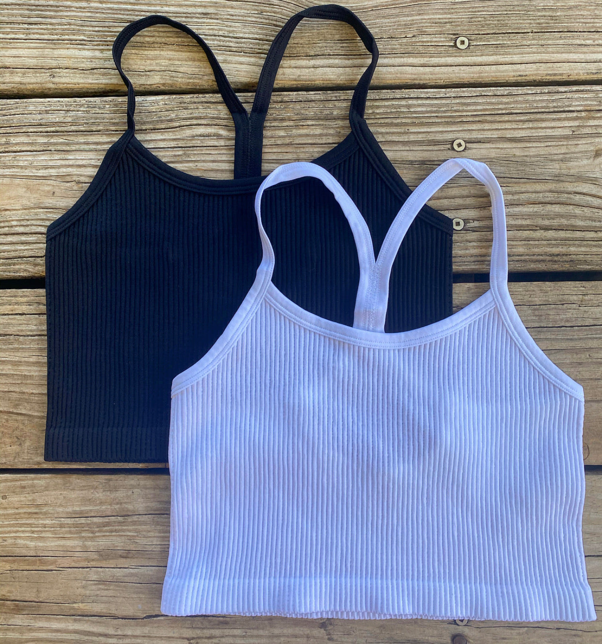 """Ole Holla Back"" Ribbed Body Shaping Layering Cropped Tank Top &/or Bralette"