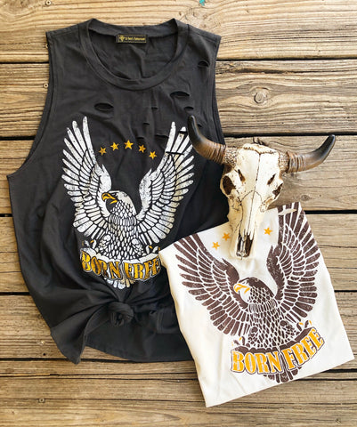 """Ole Free Bird"" Distressed Born Free Eagle Graphic Tank"