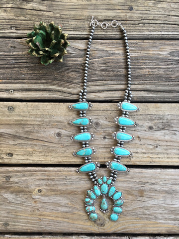 """The KanKan"" Turquoise & Navajo Pearl Squash Blossom Necklace"