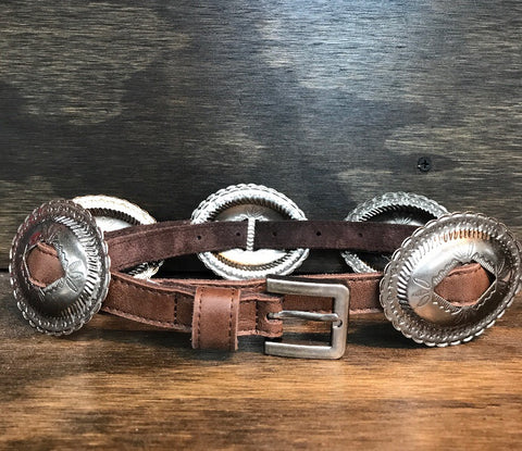 """Miss Clementine"" Antique Style Engraved Concho Leather Belt ~ Brown"