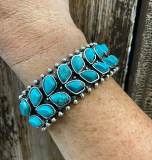 """Ole Butterfly Wing"" Turquoise & Silver Cuff Bracelet"