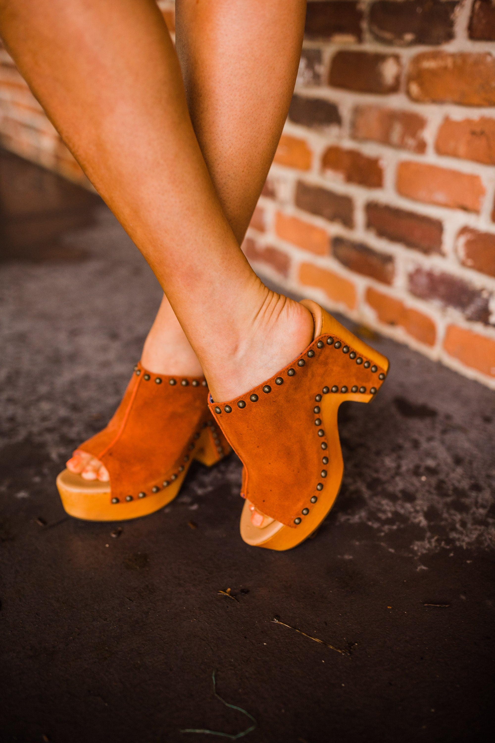 """Ole Peace & Love"" Suede Leather Studded Platform Clogs"