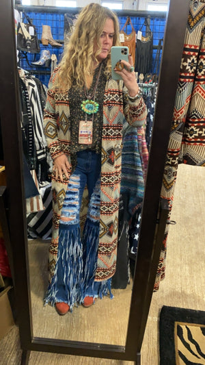 """Ole Texcoco"" Earthy Aztec Hooded Duster Cardigan ~"