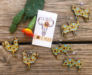 """Ole Sunflower Ranch"" Lightweight Wood Dangle Earrings"
