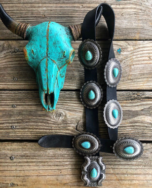 """Ole Outback"" Black Leather Silver & Turquoise Antique Concho Belt"