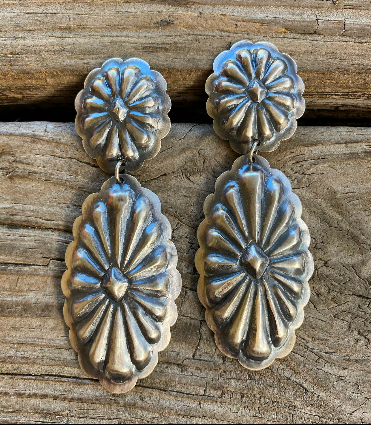 Handcrafted Sterling Silver Western Style Concho Earrings