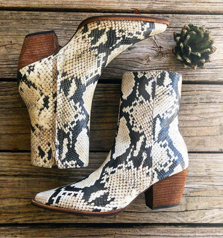 "Matisse ""Caty"" Natural Snakeskin Brazilian Leather Mid Calf Bootie"