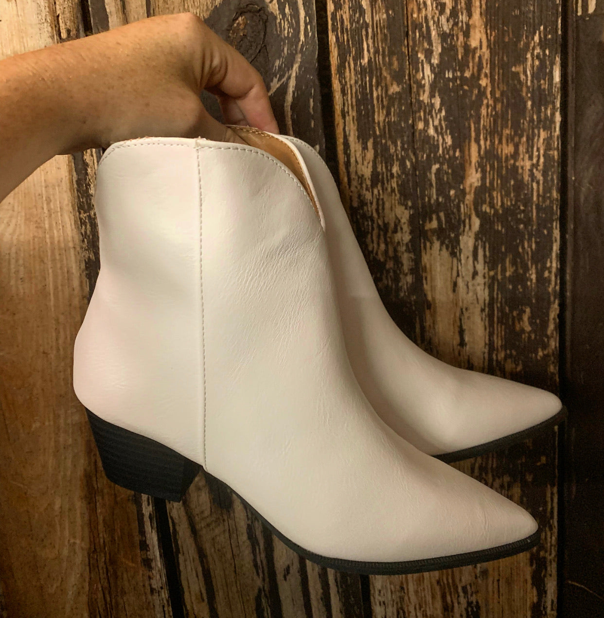 """Ole White Lies"" White Crinkle Western Style Booties"