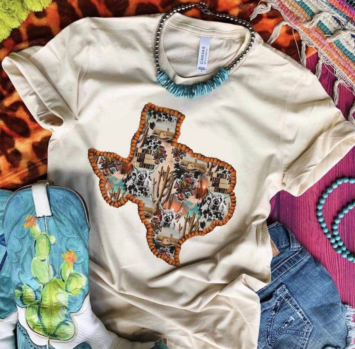 """Ole Texas Strong"" Highland Cows & Cactus Graphic Tee ~ (made 2 order)"