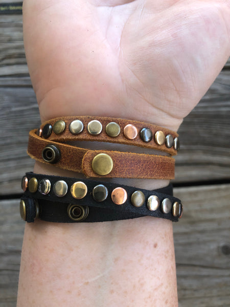 Studded Leather Wrap Style Cuff Bracelet &/or Choker Necklace