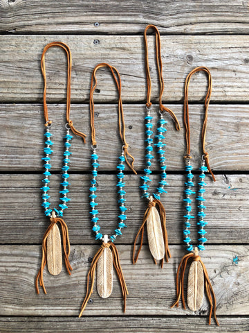 """Ole Birds Of A Feather"" Turquoise & Leather Jumbo Feather Tassel Necklace"