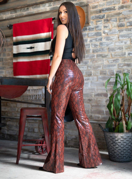 """Ole Red Dirt Road"" Brick Red Snakeskin Leather Flare Pants"