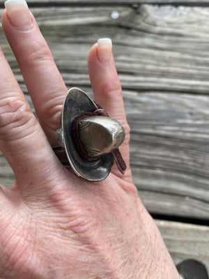 """Ole Ten Gallon"" Silver Spoon Cowboy Hat Rings ~ SIZE 7"