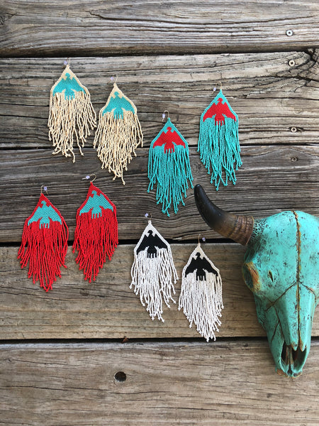 """Ole Thunderstruck"" Kurtmen Brand Beaded Fringe Thunderbird Earrings"