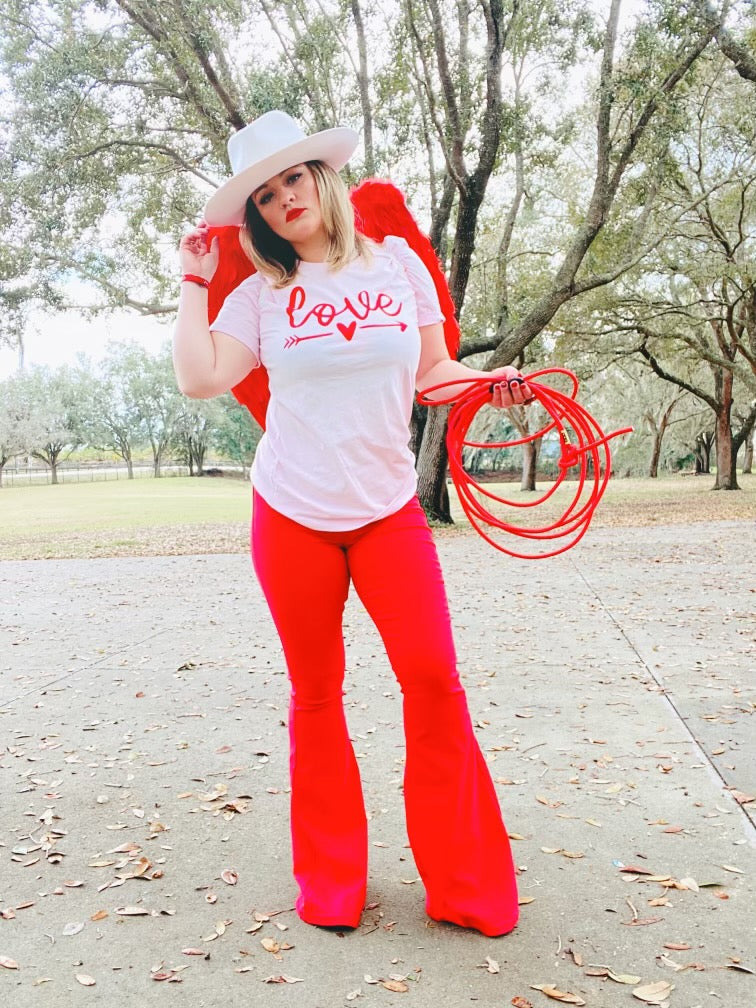 """Ole Ruby Rose"" Bright Red Denim Flare Jeans"