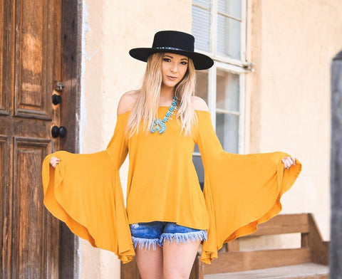 """Ole Mellow Yellow"" Off The Shoulder Bell Sleeve Top"