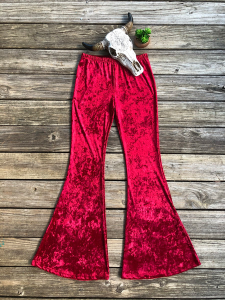 """Goodbye Ruby Tuesday"" ~ Ruby Red Crushed Velvet Bell Bottoms ~ PREORDER 12/24"