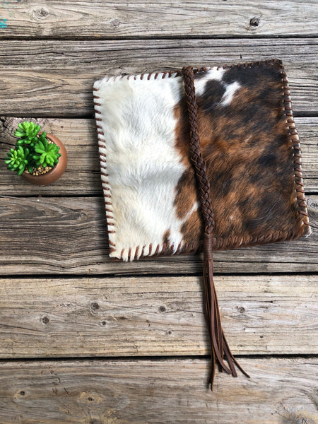 Big Shot Cowgirl Leather Fringe Cowhide Clutch Purse