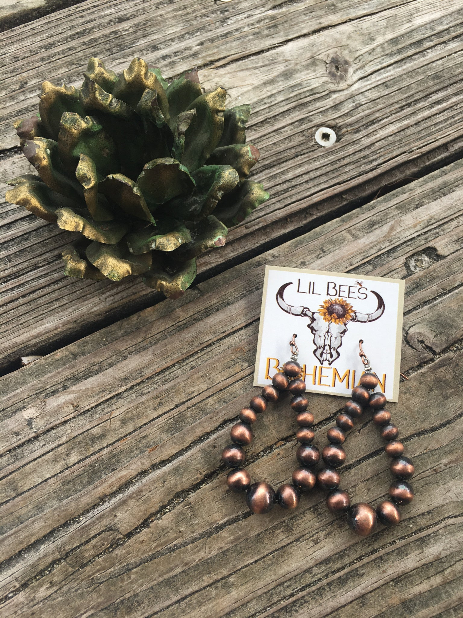 """Ole Copperline"" Copper Pearl Bead Teardrop Earrings"